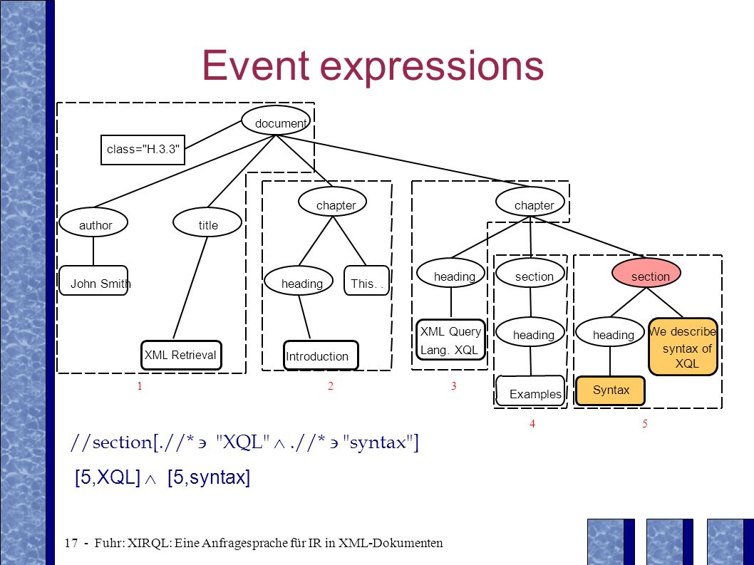 Event expressions //section[.//*  XQL  .//*  syntax ]